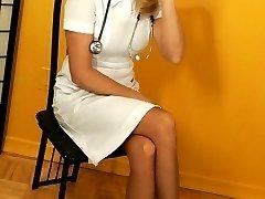 Naughty nurse stocking tease