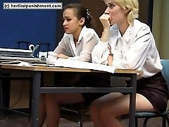 Thrashed on palms and bare bottom - cute blonde teen bent over the class desk