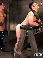 Mistress Sandra Romains command of the male anatomy is made painfully clear as she casually...