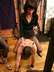 Harsh man humiliation with ball gags, nipple piercing amp rope binding by fetish slut