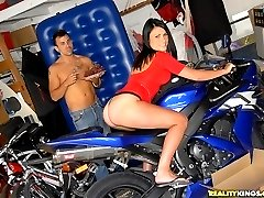 Big tits fire latina fucked hard against her motorcycle in her big black bush