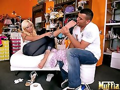 Long leg hot ass babe strips out of her jeans and foot fucks the shoe store manager in thesae...