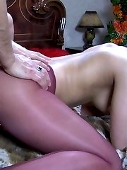 Half naked brunette gives head and gets ass fucked thru her crotchless hose
