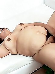 Horny bbw Lola plays with her stiff nipples while she had her hairy pussy rammed