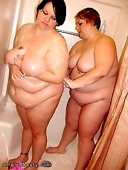 Hot naked fat girls frolic in the shower