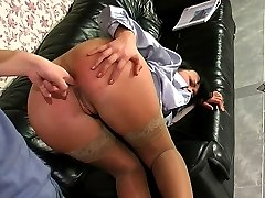 Nasty business lady getting down for ass fingering and screwing on the sofa