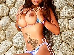 lulu stripping from bikini outdoors