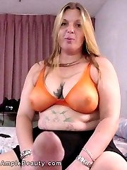 Busty chubby tattooed amateur dildos her hairy pussy