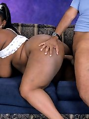 Huge titted black babe gets boned by big cock!