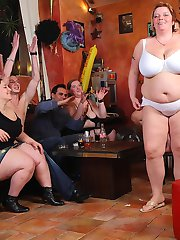 The three sluts get naked in the BBW orgy and then this one gives head and takes cock for us