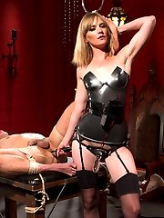 Mona Wales give slave boy Brock Avery more than he bargained for in her Electro Femdom Dungeon....