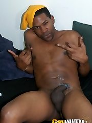 Naughty black amateur gay gentaris stripping and wanking his massive dong