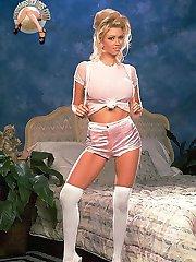 Classic pornstar Jenna Jameson high heels and white stockings sexy posing