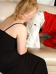 Blonde mom in black hose and her lover drinking before sizzling hot fucking