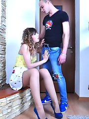 Leggy chick tempting her guy into a fuck with her slim pantyhose clad legs