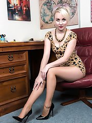 Kiana get to fix a piece of equipment in the office, in her super short mini dress with lots of...