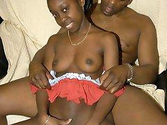 Petite ebony teen sucking and riding black cock