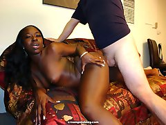 Ebony fucks hard by white cock for creampie