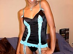 Big booty black teen gets her pimp on with a cock ride in her new lingerie