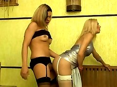 Freaky dick-girl letting a hot tranny suck her tool before a wild butt play