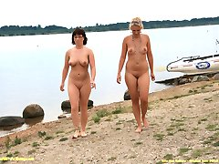 Two horny girls nude in public