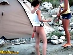 Pretty gal spycamed in nudist beach camp