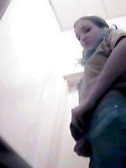 Chicks gushing slits filmed by spy cam in toilet