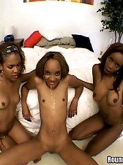 3 smokin hot ebony babes give it up orgy style