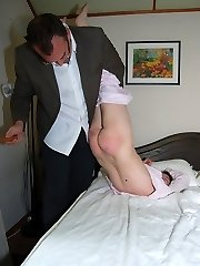 A severe spanking with the scrubbing brush on her naked ass