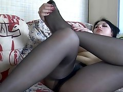 Mischievous chick gets nasty revealing her lovely feet in barely black hose