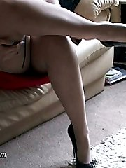 Megan is teasing your shoe fetish in her very high heels and silky smooth stockings! She knows what it would do to you to feel her legs encased in that silky smooth nylon, and also to rub her high heels