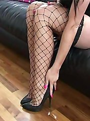 You are sexually turned on by women in heels and you don't need anyone to tell you how sexual you feel when you are looking at a lady's high heel shoes! But for some men the pleasure is always much more sensual when the lady wears fancy shoes with Fishnet stockings like Selina