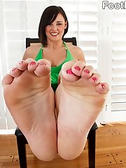 Brooke has a sole fetish of sorts herself. In fact, she's wanking to her fave foot porn when she gets caught by her homie Mikey. He's more than willing to attempt it with her, and when all is done he blasts his load on her perfect soles and she tongues it off.