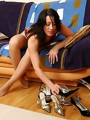 Sweltering brunette in soft silky pantyhose tasting her newly bought footwear