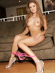 Mia Rose hikes up her skimpy skirt to show her great pair of legs and pink panties