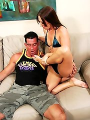 Billy sucks on brunettes hot rosy painted toes while beefstick stroking her pussy