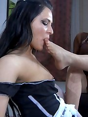 Busty maid licks pantyhosed feet of her lady and gets her pussy foot fisted