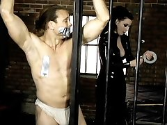 Super Hot chick Anastasia Pierce duct tapes her gimp while she plays with his hot assets