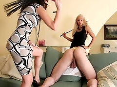 Dominatrixes have now mercy punishing slave for being careless pouring champagne