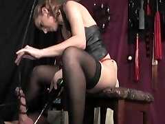 Domina Lydia pours hot wax all over her slave's nipples and jizz-shotgun and testicles...among other indignities and pain she inflicts