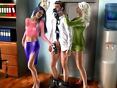 High heel and foot fetishist serves and worships two sexy ladies in office 3D art story