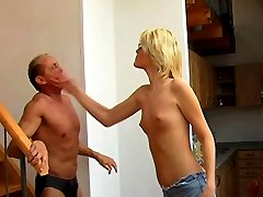 Tall Mistress spits on spanking slave