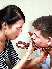 Humble slave gets put on a leash and forced to please his new leggy mistresss pussy with his...