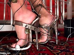 Lea Lexis subjects Baretta James to a multitude of painful and pleasurable electro sensations...