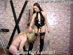 Domina makes her slave squeal like a whore fucking his ass hard!