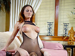Two amateur bombshells tease older man planting round donks on his face and smothering him