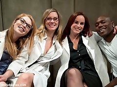 3 sadistic lesbian scientists are delighted when a new specimen is admitted to the psych ward. He's the finest piece of meat that has come through the doors. The ladies want to be impregnated and Jack finds that the women who run the hospital are crazy and will stop at nothing to get his sperm! They stimulate his prostate, cane and paddle him. His balls are clamped and stretched. The ladies then pull a train on his ass. There's nothing he can do but lie there totally helpless, get used just for his sperm and left like a piece of meat!