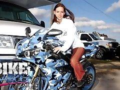 Brunette bike babe gets her ass fucked