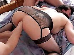 Kinky brunette babe gets brutally gang bang anal fisted