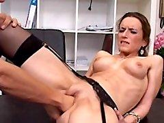 Blonde secretary fist fucked by her bastard boss